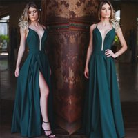 Wholesale Sexy Side Split - Cheap Price Womens Formal Party Dress Spaghetti Straps Deep V-Neck Sleeveless Sexy Cocktail Gowns Floor Length Side Split Evening Dresses