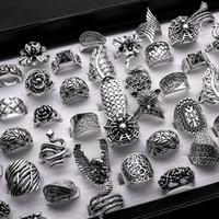 anillos barrocos al por mayor-lotes al por mayor mezclados 25 unids gótico tribal dama / mujeres talladas de alta calidad de época de bronce antiqued plata anillos barrocos