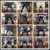 Wholesale Stripe Pocket Jeans - 2017 New Style Brand DSQ Men's Denim Jean Embroidery Tiger DSQ2 Jeans Hole D2 Skinny Jeans Zipper Men Biker Pants Homme Trousers