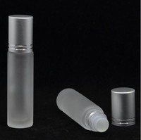 Wholesale Tracking Stainless Steel - 10ml Elegant Frosted Glass Roll On Essential Oils Perfume Bottles with Stainless Steel Roller Ball Free shipping with Tracking