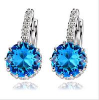 Wholesale 14k Cz Earrings - Hot White Gold Color CZ Zircon Zircon Drop Earrings For Women Fashion Wedding Jewelry Earring 8 Colors