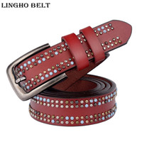 Wholesale Jeans Belt Punk - 2017 Fashion Genuine leather Womens Belts Luxury quality Pin Buckle Cowhide leather punk Belts for Women Ladys Jeans Belt LH-W60