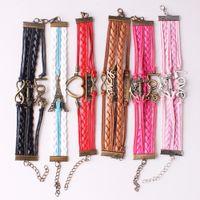 Wholesale Leather Bracelet Jewel - Wholesale- Random Styles Braided Adjustable Leather Bracelet Random Color Multilayer Charm Popular Bracelet Cuff Women Men`s Casual Jewel