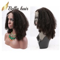 Wholesale Short Afro Kinky Curl - Afro Kinky Curly Full Lace Wig 100% Indian Human Hair Wig Kinky Curl Natural Black Color Bella Hair Free Shipping Hair Wigs Wholesale