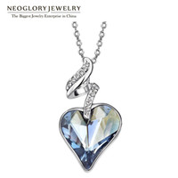 Wholesale Neoglory Austrian Crystal Rhinestones Four Color Heart Love Chain Necklaces Pendants For Women Gift India Jewelry