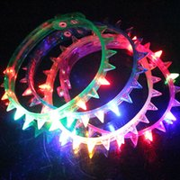 Wholesale Free Style Concert - Fashion Punk Style Rivet Led Flash Glow Necklace Light Up Party Toys Concert Costume Prop Free Shipping ZA3974