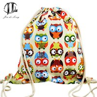 Wholesale Cute Owl Pattern Cartoon - Wholesale- new brand 3D Fashion Printed Animal Owl Pattern Cute Girl'S Backpacks Women's Lady Travel Shopping Drawstring Bag