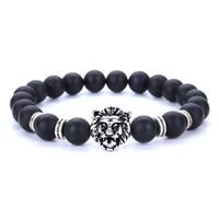 ingrosso mani di buddha-New Bursts Buddha Beads Mano String 8mm Pietra vulcanica Pietra naturale Agate Beads Uomo Donna gioielli Argento placcato Testa di leone Bracciale Whosale
