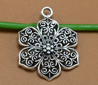 Wholesale 100Pcs mm Antique Silver Color Hollow Flowers Charms Beads Fit European Bracelets Fashion Mother S Day Jewelry