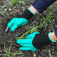 grüne gartengeräte großhandel-Garten Genie Handschuhe mit Fingerspitzen Plastic Claws Green Dig und Pflanzen Nylon Pruning Handschuhe Garten Wasserdicht Graben Zubehör Tool