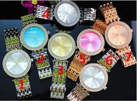 Wholesale Wholesale Designer Watches Wholesalers - DHL charms sales Free Shipping Luxury Brand Color dial White Diamonds women Watches Ladies fashion Designer Wristwatches female clock steel
