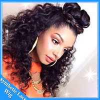 14 bleach synthetic wig - Hot Selling Black loose Kinky Curly Hair Synthetic Front Lace Wig With Baby Hair For Black Women Bleached Knots Afro curly Synthetic Hair