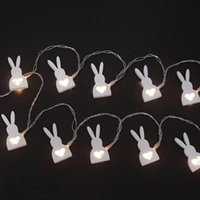Wholesale Wooden Rabbit Shapes - Wholesale- 10-LEDs Battery Powered Wooden Easter Rabbit Easter Bunny Shape String Light For Easter Party Holiday Festival Decoration