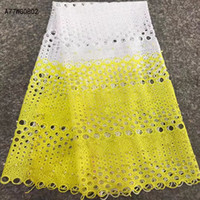 Wholesale African Swiss Voile Lace White - Best Selling Swiss voile laces African Lace Fabric White Nigerian French Fabric High Quality African beads Lace Fabric A77WG08