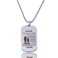 Wholesale Dog Collar Slide Tags - 2017 new Brand Name Tag Dog Collar Stainless Steel Military Necklace Father Son Gift Necklace Father's Day Gift
