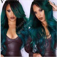 yeşil peruk uzun saç toptan satış-Sentetik Dantel Ön Peruk Uzun Dalgalar Ombre Siyah Yeşil Brezilyalı Saç Afro-amerikan Saç Modası Beautly Peruk Y talep