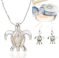 Wholesale Wholesale Freshwater Pearl China - Love Wish Pearl Cages Locket Pendant Jewelry Sets Freshwater Pearls Oyster Pendant Earrings & Necklace Sets(Excluding Pearl Canned)