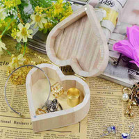 Wholesale Wholesale Kids Wooden Jewelry - Fashion New Jewelry Box Love Heart Shape DIY Wooden Packaging Carrying Cases Nice Decoration Art Decor Children Kid Baby Crafts