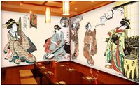 papel pintado japonés para paredes al por mayor-3d room wallpaper custom photo mural Ancient Japanese ladies room decoration painting picture 3d murales de pared de papel tapiz para paredes 3 d