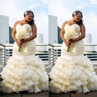 Wholesale Ruched Mermaid Wedding Gowns - 2017 Plus Size Arabic Ruffles Mermaid Wedding Dresses African Sweetheart Sleeveless Ruched Draped Tiered Skirts Dubai Formal Bridal Gowns