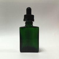Beauiful 30 ml Frosted Green Flat Square Perfume Bottle E Liquid Smoke Oil Glass Dropper Bottle para cigarrillo electrónico Envío gratis