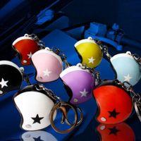 Wholesale Helmet Keyring - 2pcs lot Mini Sport Motorcycle Helmet Pendant Keychain For Women Men Unisex Metal Key Fob Chain Keyring Jewelry Gifts