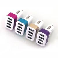 i adaptador de cargador de teléfono al por mayor-Mini 4 puertos cargador de coche de aleación de metal 5V 5.1A Adaptador de carga USB para todos los teléfonos inteligentes I pad Andorid Tablet