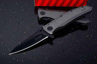 """Wholesale Knife Assisted Free Shipping - Kershaw 2200 Grid Assisted Flipper 3.7"""" Black Blade, Stainless Steel Handles Outdoor Camping Hunting knife knives free shipping"""