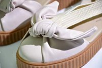 Wholesale White Ballet Slippers Canvas - Fenty By Rihanna Creepers Collection Bow Creeper Sandals 365794-02 365794-01 Pink Tint Women Shoes Ankle Wrap Lace-Up Leather Ballet Flats
