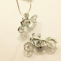 Wholesale Slide Mount - New Design Motorcycle Pendant Locket Cage, Can Put Into 7.4mm Pearl Pendant Mounting For DIY Bracelet Necklace Charms Fitting