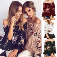 Wholesale Women One Shoulder Top Blouse - 2017 Women Copr Top Sexy One Off The Shoulder t shirt Top Clothes Printing Floral One Word Collar Sexy Pagoda Long Sleeve Blouses
