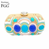 Atacado-Bohemian Ladies Big Stone Beaded Handbag Metal Hard Case Beading Evening Bags Embreagens Purse Women Wedding Party Dinner Hand Bag
