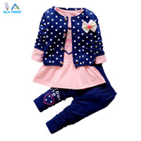 Wholesale Girls Heart Shape Outfit - Wholesale- 2016 New Baby Girl clothing Sets kids 3PCS coat+ T shirt + Pants children Cute Princess Heart-shaped Print Bow baby girl outfits