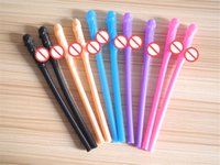 Wholesale Straws Wedding Drinking - Bachelorette Party Willy Straw Drinking Penis Straws Sipping Straw Sex Game Toys Hens Night Wedding Favor Products Free shipping