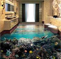 Wholesale quality wallpapers - 3d pvc floor waterproof self adhesive wallpaper customize high quality wallpaper The underwater world 3d floor wallpaper