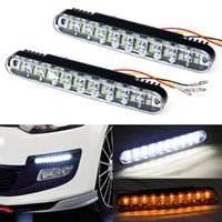 Wholesale Universal Led Daylights Car - 2x 30 LED Car Daytime Running Light DRL Auto Daylight Lamp with Turn Lights Driving Lamp