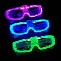 Wholesale Colored Glass Light Shades - party Led shutter glow cold light glasses light up shades flash rave luminous glasses Christmas favors cheer atmosphere props ZJ0414