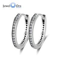 Wholesale Solid Silver Hoop Earrings - JewelOra Classic Solid 925 Sterling Silver Stud Earrings AAA Austrian Cubic Zirconia Hoop Earrings For Women #EA102005