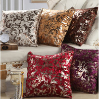 "Wholesale Luxury Fabric Sofas - New Luxury Flock Velvet Cushion Covers Decorative Throw Pillow Cases Home Sofa Car Decor 18"" 12 colors"