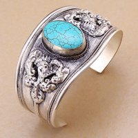 Wholesale Bling Weave - Wholesale- Charm Bling wire woven tibet silver inlay green Turquoise Bead cuff bracelet guarantee Adjustable Party Gift &6YB00074