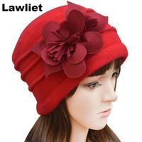 vestido de ganchillo rojo al por mayor-Al por mayor-A123 Red Purple Felt Invierno flor recortada Womens Warmer lana Beanie Cap Dress Crochet hermoso sombrero