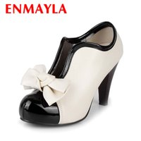 Wholesale Party Cute High Heel - Wholesale- ENMAYLA Beige Women Spring Autumn Fashion Boots Cute Bowtie Round Toe Slip-on High Heel Boots for Party and Wedding Size 34-43