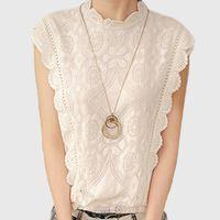 Wholesale Crochet Shirts For Women - White Lace Top Sleeveless Shirt Women Summer Vintage Blusa Feminino Crochet Casual Loose Women For Blouse Tops Blouses