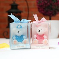 Wholesale Bear Wedding Favor - Baby shower favor candle--Children's birthday party candles sweater animal bears small candle gift wedding decoration 100pcs lot