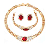 Wholesale Chunky Bridal Jewelry - Fashion Women Jewelry Pendant Bib chunky Collar Statement Gold Plated Necklace Delicate Ellipse Earring Bridal Wedding Chain