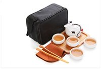 Wholesale Vintage Bone China - Handmade Chinese   Japanese Vintage Kungfu Gongfu Tea Set - Porcelain Teapot & 4 Teacups & Bamboo Tea Tray with a Portable Travel Bag