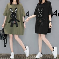 Wholesale Cute Korean Fashion Clothes - Women Lady Girls Fashion Summer Korean Loose Cute Rabbit Round Neck Short Sleeve T-shirt Dress Clothes 3076