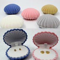 Wholesale Jewellery Boxes Packaging Velvet - Jewelry Boxes and Packaging Mixed 6.5*5.5*3cm Necklace Earrings Ring Organizer Shell Shape Gift Box for Jewellery display