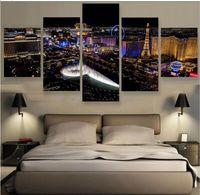Wholesale Classical Art Pictures - 5 Pieces Las Vegas City Canvas Prints Painting Canvas Wall Art Painting Home Decor 5 Panels Modular