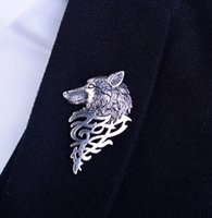 Ashion 1pcs Vintage Wolf Brooch jóias Little Red Riding Hood Único Epaulette Broches Drop Shipping Frete GrátisRetro Vintage Wolf Brooc